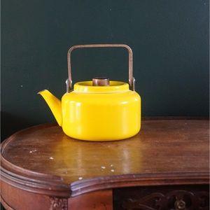 mid century modern yellow enamel wood tea kettle